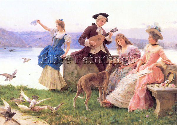 FEDERICO ANDREOTTI  F A DAY S OUTING ARTIST PAINTING REPRODUCTION HANDMADE OIL