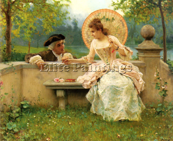 FEDERICO ANDREOTTI A TENDER MOMENT IN THE GARDEN ARTIST PAINTING HANDMADE CANVAS