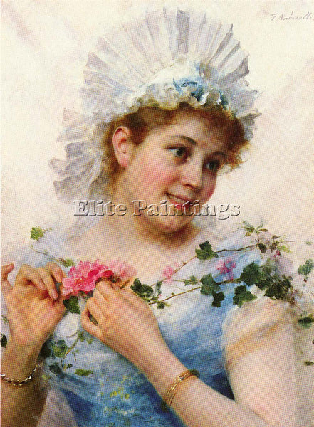 FEDERICO ANDREOTTI A YOUNG GIRL WITH ROSES ARTIST PAINTING REPRODUCTION HANDMADE