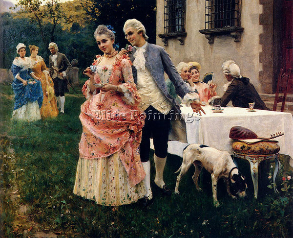 FEDERICO ANDREOTTI AN AFTERNOON TEA ARTIST PAINTING REPRODUCTION HANDMADE OIL