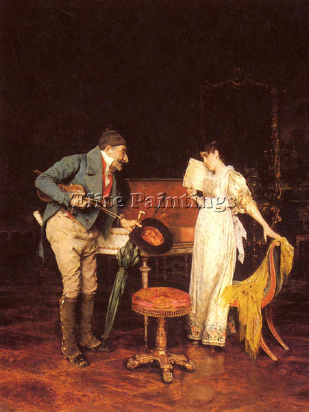 FEDERICO ANDREOTTI THE MUSIC LESSON ARTIST PAINTING REPRODUCTION HANDMADE OIL