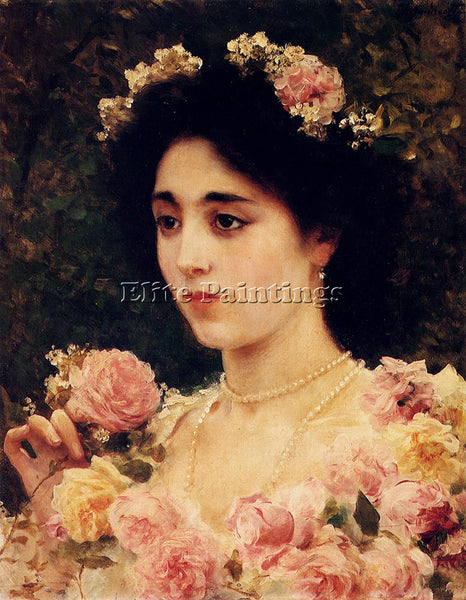 FEDERICO ANDREOTTI THE PINK ROSE ARTIST PAINTING REPRODUCTION HANDMADE OIL REPRO