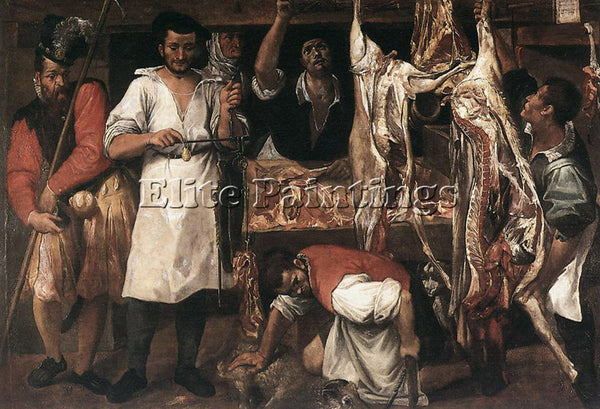 ANNIBALE CARRACCI BUTCHERS SHOP 1 ARTIST PAINTING REPRODUCTION HANDMADE OIL DECO