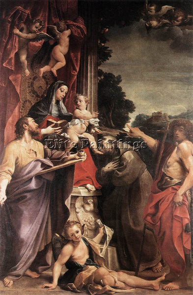 ANNIBALE CARRACCI MADONNA ENTHRONED WITH ST MATTHEW ARTIST PAINTING REPRODUCTION