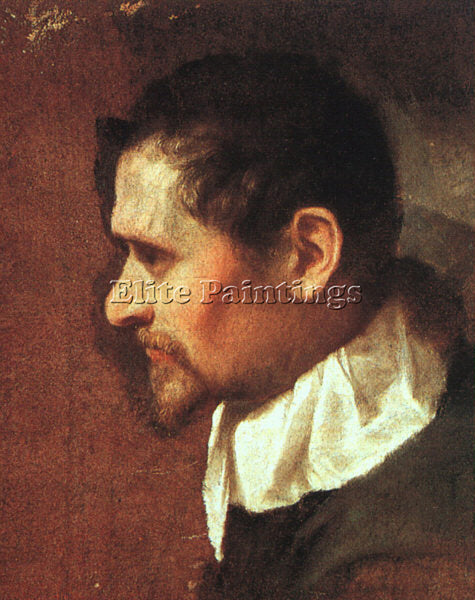 ANNIBALE CARRACCI SELF PORTRAIT IN PROFILE ARTIST PAINTING REPRODUCTION HANDMADE