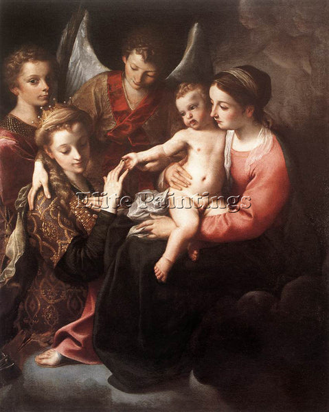 ANNIBALE CARRACCI THE MYSTIC MARRIAGE OF ST CATHERINE ARTIST PAINTING HANDMADE