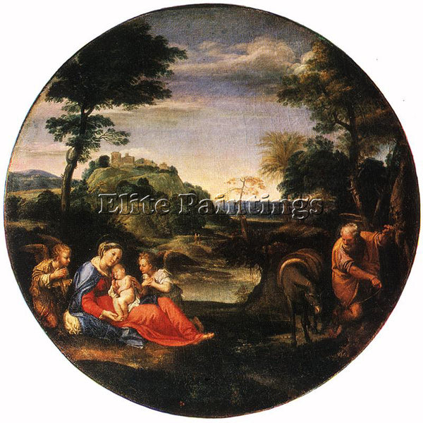 ANNIBALE CARRACCI REST ON FLIGHT INTO EGYPT ARTIST PAINTING HANDMADE OIL CANVAS
