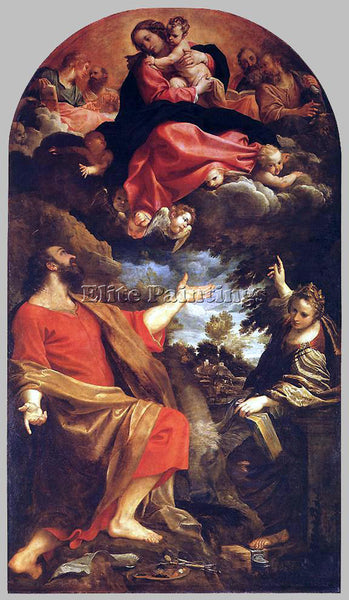 ANNIBALE CARRACCI VIRGIN APPEARS TO ST LUKE AND CATHERINE ARTIST PAINTING CANVAS