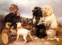 BRITISH ANSDELL RICHARD THE LUCKY DOGS ARTIST PAINTING REPRODUCTION HANDMADE OIL