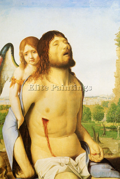 ANTONELLO DA MESSINA ANTONELLO DA THE DEAD CHRIST SUPPORTED BY AN ANGEL PAINTING