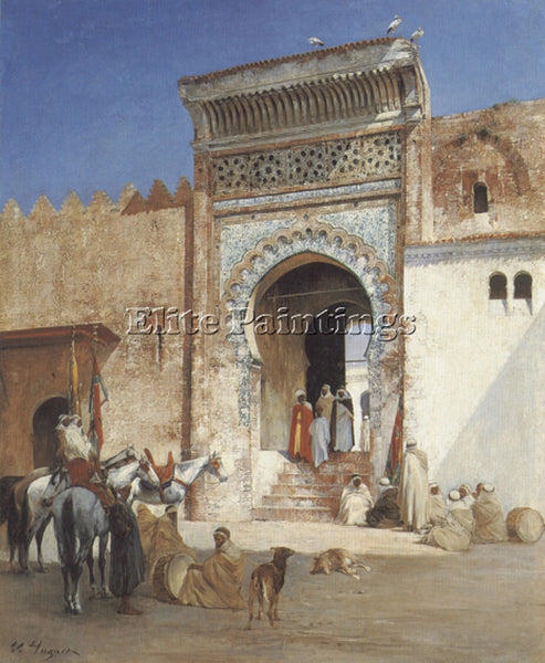 VICTOR PIERRE HUGUET ARABS OUTSIDE THE MOSQUE ARTIST PAINTING REPRODUCTION OIL