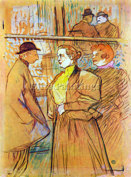 TOULOUSE-LAUTREC AT THE MOULIN ROUGE 2 ARTIST PAINTING REPRODUCTION HANDMADE OIL