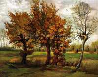 VAN GOGH AUTUMN LANDSCAPE WITH FOUR TREES ARTIST PAINTING REPRODUCTION HANDMADE