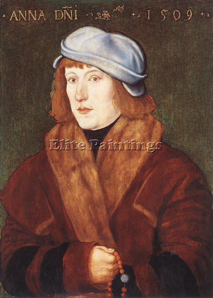 HANS BALDUNG GRIEN PORTRAIT OF A YOUNG MAN WITH A ROSARY ARTIST PAINTING CANVAS