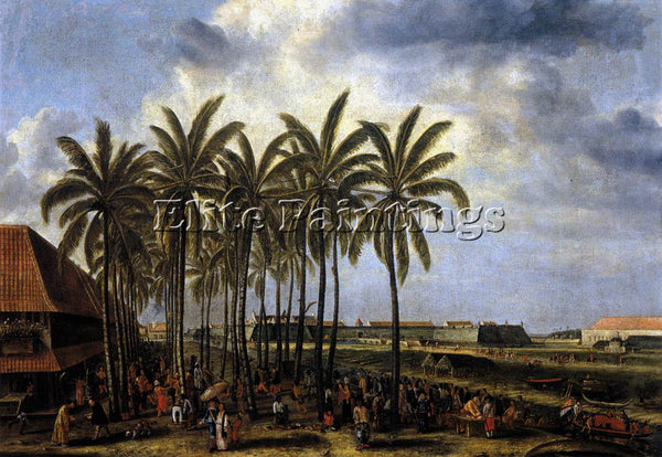 DENMARK BEECKMAN ANDRIES CASTLE OF BATAVIA SEEN FROM KALI BESAR WEST OIL CANVAS