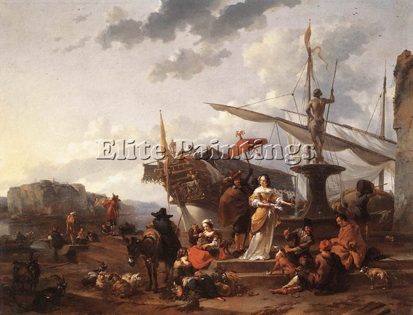 NICOLAES BERCHEM A SOUTHERN HARBOUR SCENE ARTIST PAINTING REPRODUCTION HANDMADE