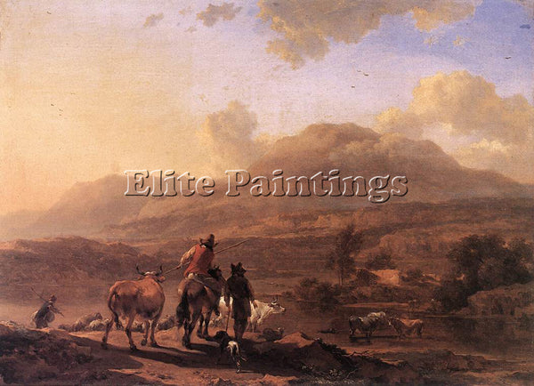 NICOLAES BERCHEM ITALIAN LANDSCAPE AT SUNSET ARTIST PAINTING HANDMADE OIL CANVAS