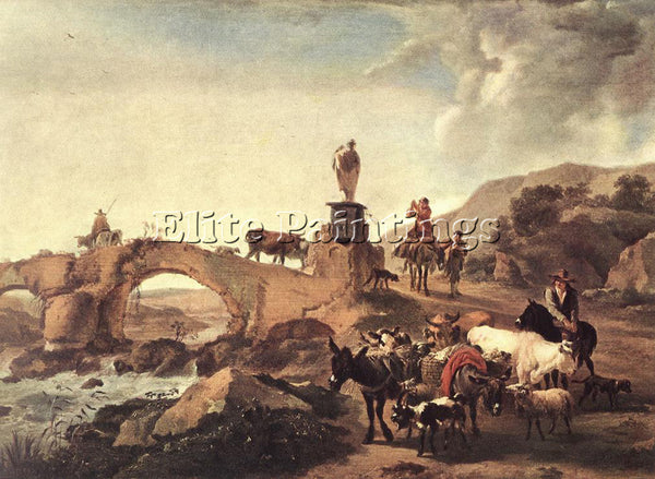 NICOLAES BERCHEM ITALIAN LANDSCAPE WITH BRIDGE ARTIST PAINTING REPRODUCTION OIL