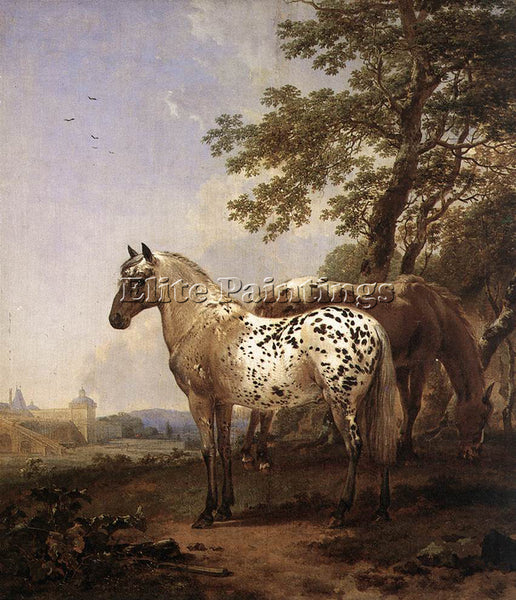 NICOLAES BERCHEM LANDSCAPE WITH TWO HORSES ARTIST PAINTING REPRODUCTION HANDMADE