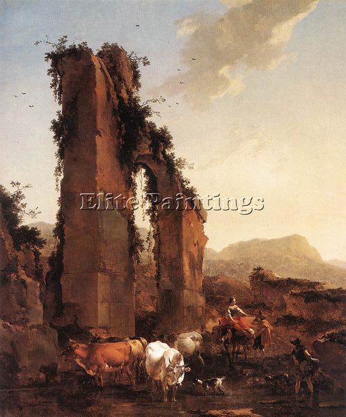 NICOLAES BERCHEM PEASANTS WITH CATTLE BY A RUINED AQUEDUCT ARTIST PAINTING REPRO