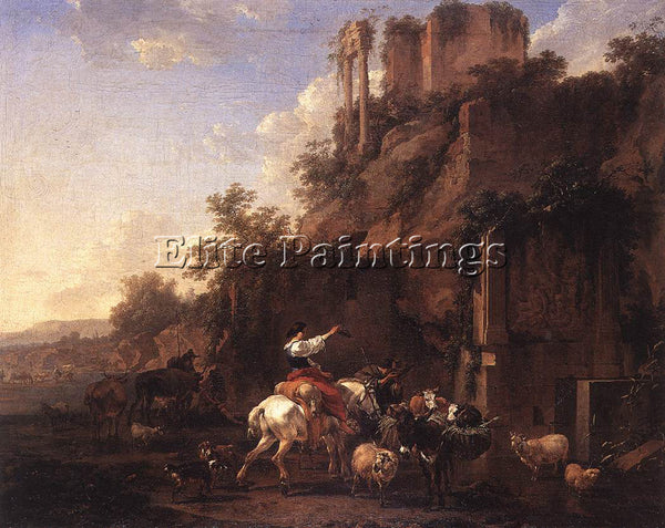 NICOLAES BERCHEM ROCKY LANDSCAPE WITH ANTIQUE RUINS ARTIST PAINTING REPRODUCTION