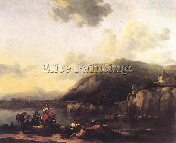 NICOLAES BERCHEM LANDSCAPE WITH JACOB RACHEL AND LEAH ARTIST PAINTING HANDMADE