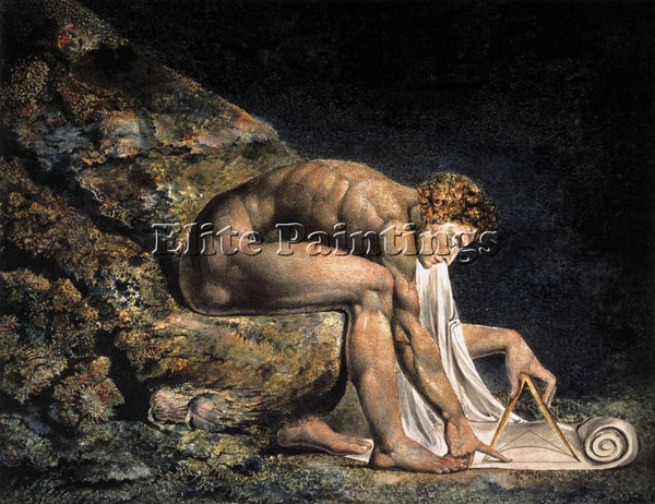 WILLIAM BLAKE ISAAC NEWTON ARTIST PAINTING REPRODUCTION HANDMADE OIL CANVAS DECO