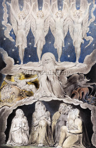 WILLIAM BLAKE THE BOOK OF JOB ARTIST PAINTING REPRODUCTION HANDMADE CANVAS REPRO