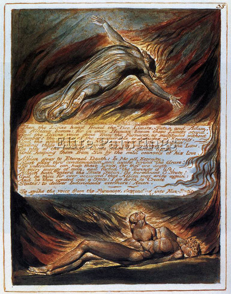 WILLIAM BLAKE THE DESCENT OF CHRIST ARTIST PAINTING REPRODUCTION HANDMADE OIL