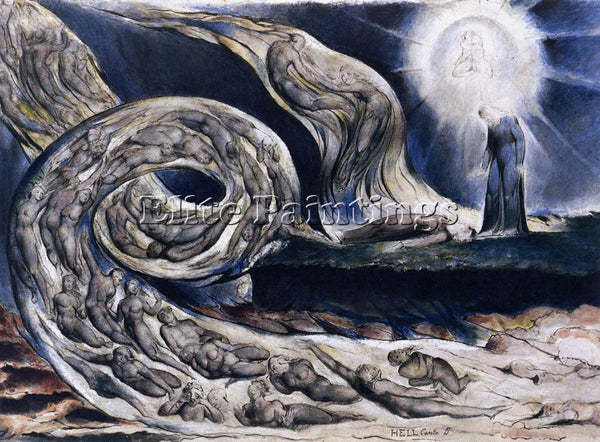WILLIAM BLAKE THE LOVERS WHIRLWIND FRANCESCA DA RIMINI AND PAOLO MALATESTA REPRO