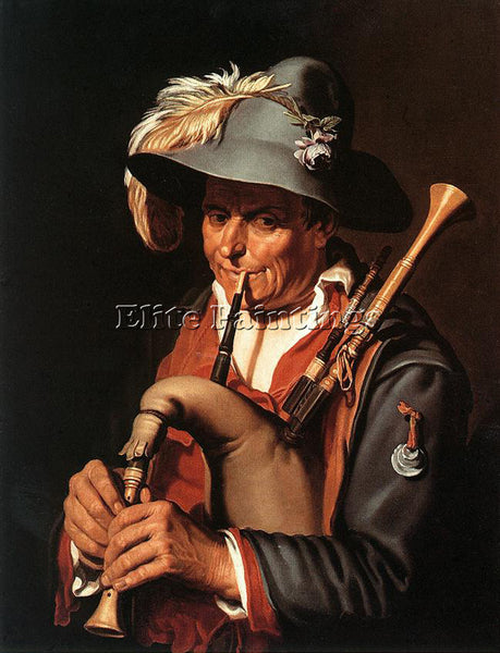 ABRAHAM BLOEMAERT THE BAGPIPER ARTIST PAINTING REPRODUCTION HANDMADE OIL CANVAS