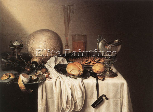 BOELEMA DE STOMME STILL LIFE WITH BEARDED MAN CROCK AND NAUTILUS SHELL CUP REPRO