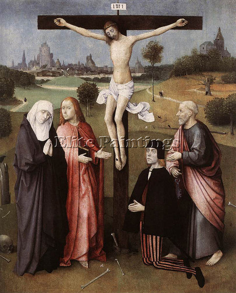 HIERONYMUS BOSCH CRUCIFIXION WITH A DONOR ARTIST PAINTING REPRODUCTION HANDMADE