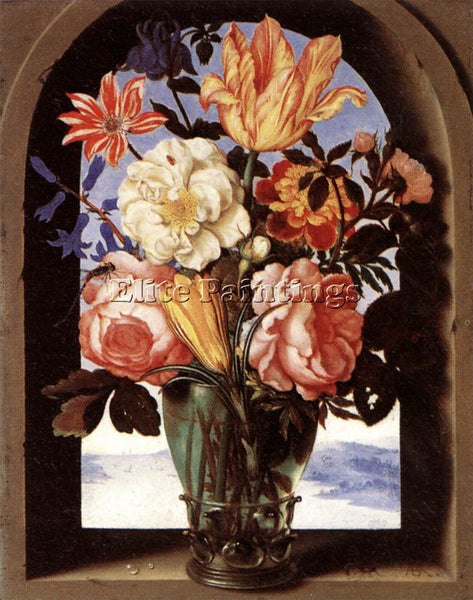 DENMARK BOSSCHAERT AMBROSIUS THE ELDER BOUQUET OF FLOWERS ARTIST PAINTING CANVAS