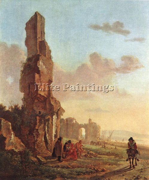 HOLLAND BOTH JAN RUINS AT THE SEA ARTIST PAINTING REPRODUCTION HANDMADE OIL DECO