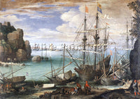 BELGIAN BRIL PAUL VIEW OF A PORT ARTIST PAINTING REPRODUCTION HANDMADE OIL REPRO