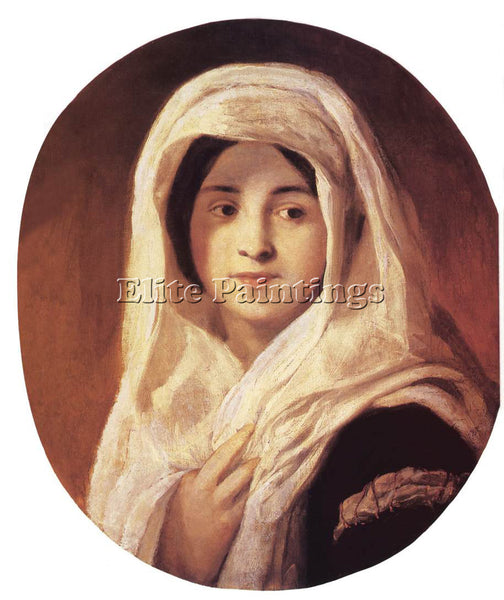 HUNGARIAN BROCKY KAROLY PORTRAIT OF A WOMAN WITH VEIL ARTIST PAINTING HANDMADE