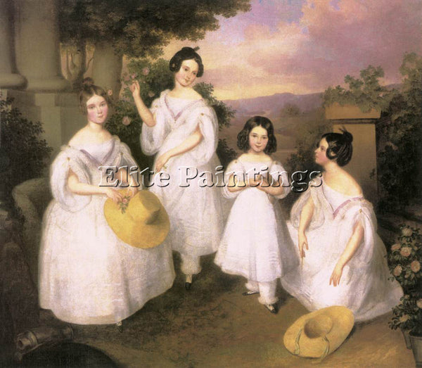 HUNGARIAN BROCKY KAROLY THE DAUGHTERS OF ISTVAN MEDGYASSZAY ARTIST PAINTING OIL