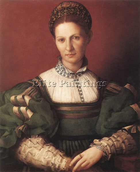 AGNOLO BRONZINO PORTRAIT OF A LADY IN GREEN ARTIST PAINTING HANDMADE OIL CANVAS