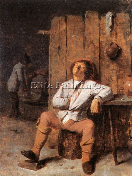 ADRIAEN BROUWER A BOOR ASLEEP ARTIST PAINTING REPRODUCTION HANDMADE CANVAS REPRO