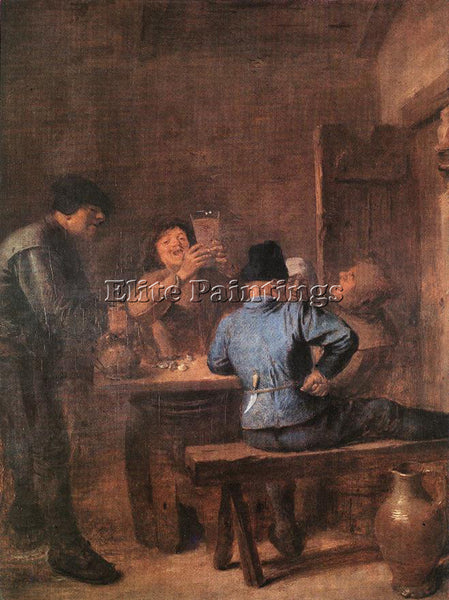 ADRIAEN BROUWER IN THE TAVERN ARTIST PAINTING REPRODUCTION HANDMADE CANVAS REPRO