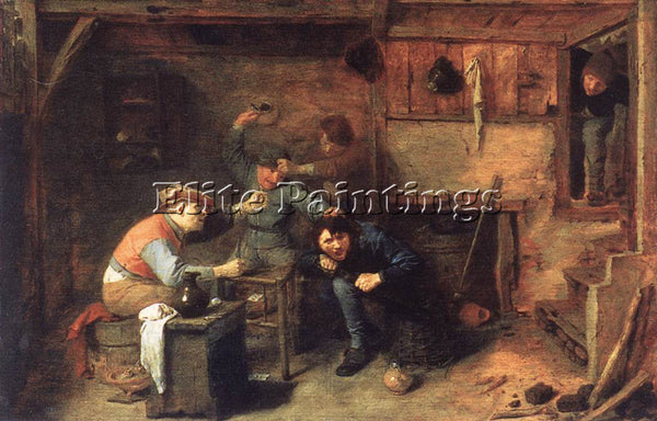 ADRIAEN BROUWER PEASANTS FIGHTING ARTIST PAINTING REPRODUCTION HANDMADE OIL DECO