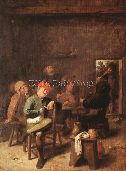 ADRIAEN BROUWER PEASANTS SMOKING AND DRINKING ARTIST PAINTING REPRODUCTION OIL