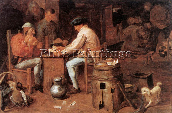 ADRIAEN BROUWER THE CARD PLAYERS ARTIST PAINTING REPRODUCTION HANDMADE OIL REPRO
