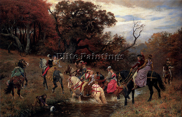 DENMARK BACHE OTTO CROSSING THE FORD ARTIST PAINTING REPRODUCTION HANDMADE OIL
