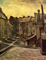 VAN GOGH BACKYARDS OF OLD HOUSES IN ANTWERP IN THE SNOW ARTIST PAINTING HANDMADE