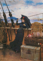 AMERICAN BACON HENRY THE DEPARTURE 1879 ARTIST PAINTING REPRODUCTION HANDMADE