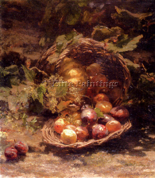 BAKHUYZEN GERARDINA JACOBA VAN WICKER BASKET PLUMS APRICOTS AND PUMPKIN PAINTING