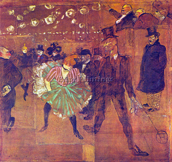 TOULOUSE-LAUTREC BALL AT MOULIN ROUGE ARTIST PAINTING REPRODUCTION HANDMADE OIL