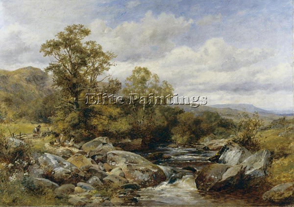 FRENCH BATES DAVID CHILDREN BY A STREAM ARTIST PAINTING REPRODUCTION HANDMADE